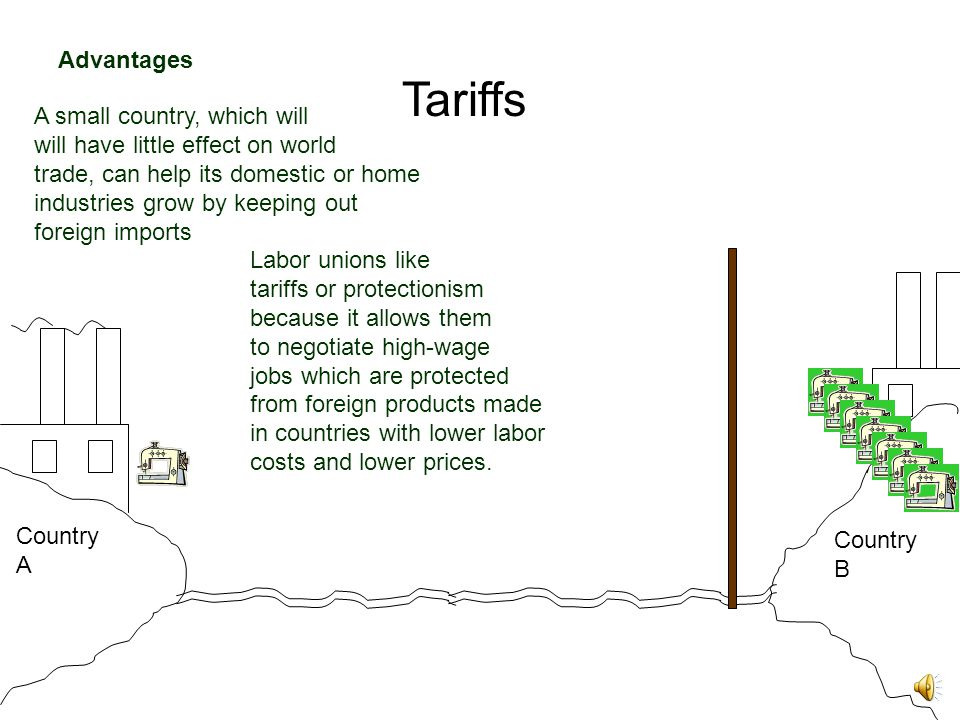 Tariffs Country A Country B A small country, which will will have little effect on world trade, can help its domestic or home industries grow by keeping out foreign imports Advantages