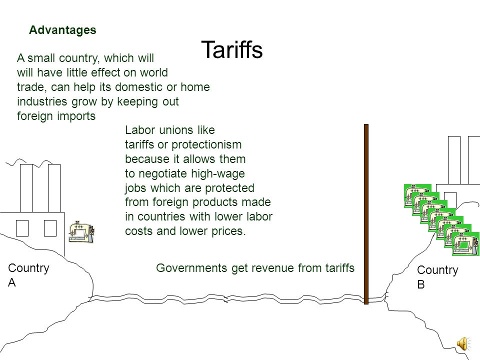 Tariffs Country A Country B Labor unions like tariffs or protectionism because it allows them to negotiate high-wage jobs which are protected from foreign products made in countries with lower labor costs and lower prices.