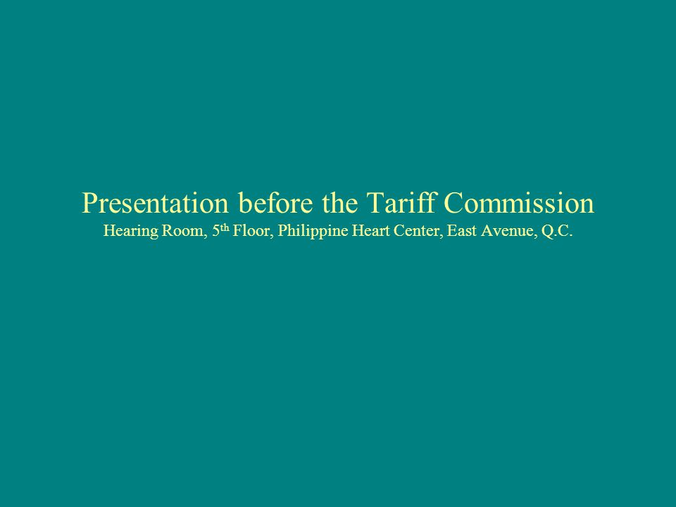 Petition under Section 401 of the Tariff and Customs Code of the Philippines, As Amended Section 401.