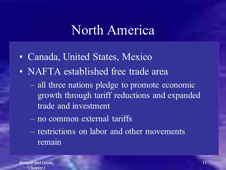 Keegan and Green, Chapter 3 11 North America Canada, United States, Mexico NAFTA established free trade area –all three nations pledge to promote econ