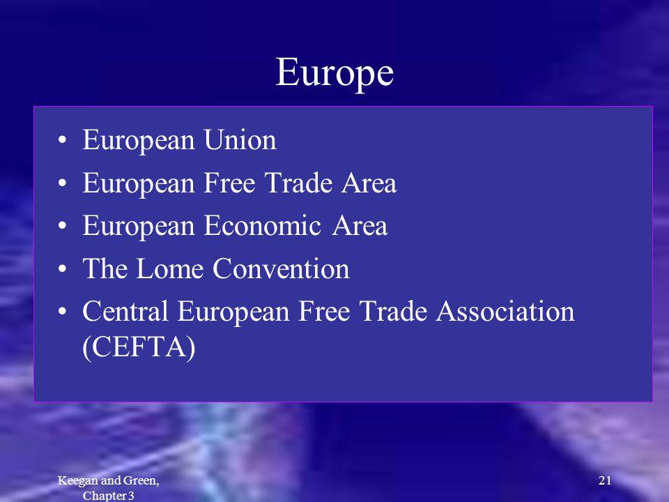 Keegan and Green, Chapter 3 21 Europe European Union European Free Trade Area European Economic Area The Lome Convention Central European Free Trade A