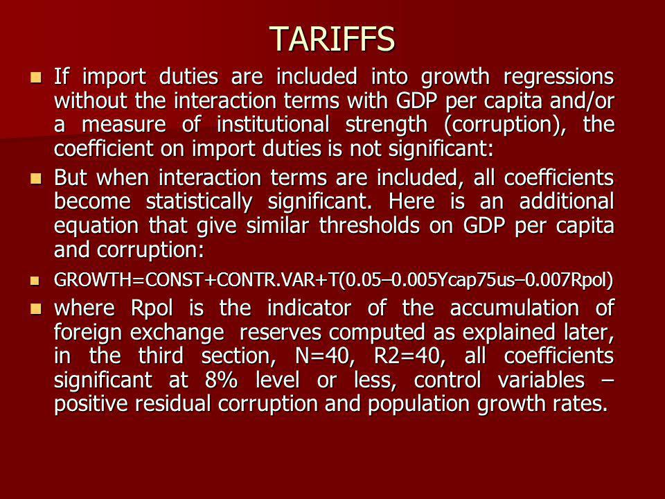 TARIFFS If import duties are included into growth regressions without the interaction terms with GDP per capita and/or a measure of institutional strength (corruption), the coefficient on import duties is not significant: If import duties are included into growth regressions without the interaction terms with GDP per capita and/or a measure of institutional strength (corruption), the coefficient on import duties is not significant: But when interaction terms are included, all coefficients become statistically significant.