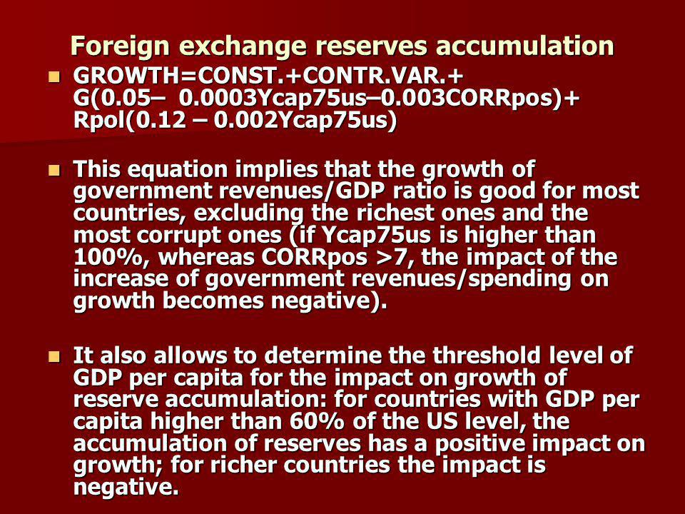 Foreign exchange reserves accumulation GROWTH=CONST.+CONTR.VAR.+ G(0.05– 0.0003Ycap75us–0.003CORRpos)+ Rpol(0.12 – 0.002Ycap75us) GROWTH=CONST.+CONTR.VAR.+ G(0.05– 0.0003Ycap75us–0.003CORRpos)+ Rpol(0.12 – 0.002Ycap75us) This equation implies that the growth of government revenues/GDP ratio is good for most countries, excluding the richest ones and the most corrupt ones (if Ycap75us is higher than 100%, whereas CORRpos >7, the impact of the increase of government revenues/spending on growth becomes negative).