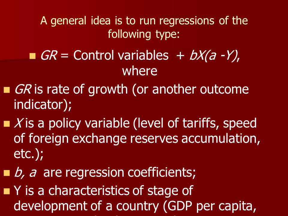 A general idea is to run regressions of the following type: GR = Control variables + bX(a -Y), where GR is rate of growth (or another outcome indicator); X is a policy variable (level of tariffs, speed of foreign exchange reserves accumulation, etc.); b, a are regression coefficients; Y is a characteristics of stage of development of a country (GDP per capita, an institutional indicator or their combinations).