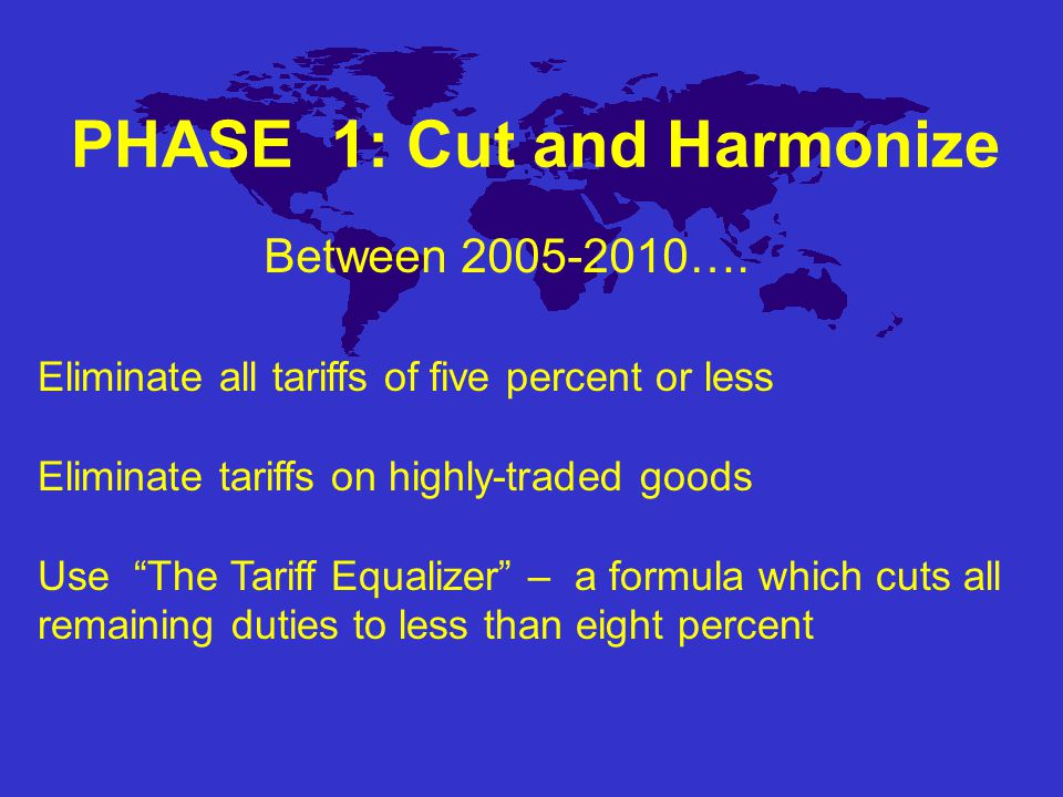 PHASE 2: All Together To Zero All countries would take tariffs to zero A parallel process will identify and seek to eliminate key non-tariff barriers Between 2010-2015….