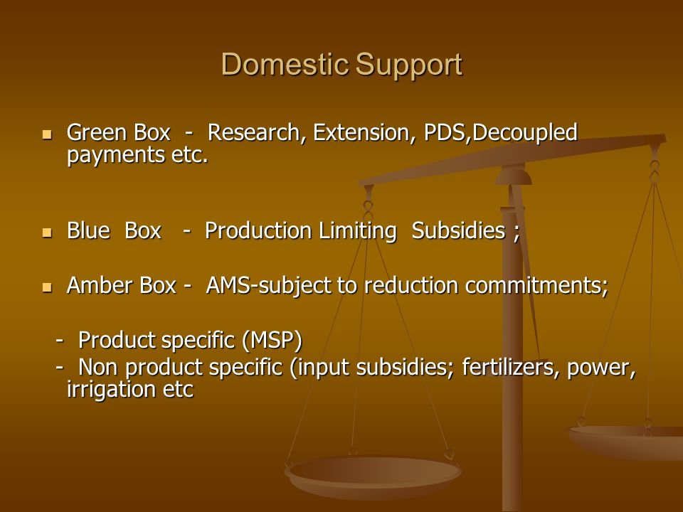 Domestic Support Green Box - Research, Extension, PDS,Decoupled payments etc. Green Box - Research, Extension, PDS,Decoupled payments etc. Blue Box -
