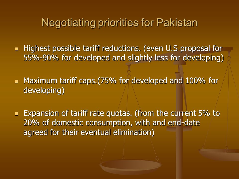 Negotiating priorities for Pakistan Highest possible tariff reductions. (even U.S proposal for 55%-90% for developed and slightly less for developing)