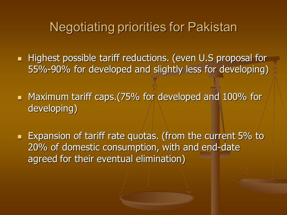Negotiating priorities for Pakistan Highest possible tariff reductions.