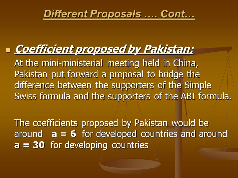 Different Proposals …. Cont… Coefficient proposed by Pakistan: Coefficient proposed by Pakistan: At the mini-ministerial meeting held in China, Pakist