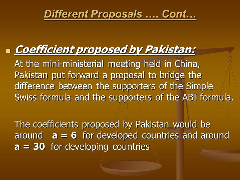 Different Proposals ….