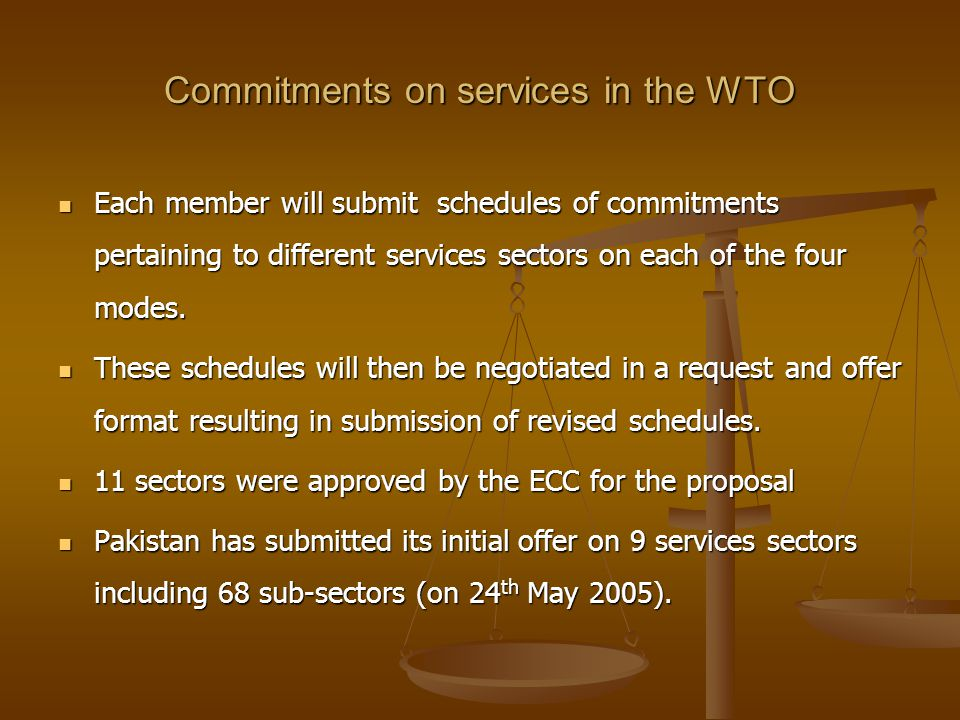 Commitments on services in the WTO Each member will submit schedules of commitments pertaining to different services sectors on each of the four modes.