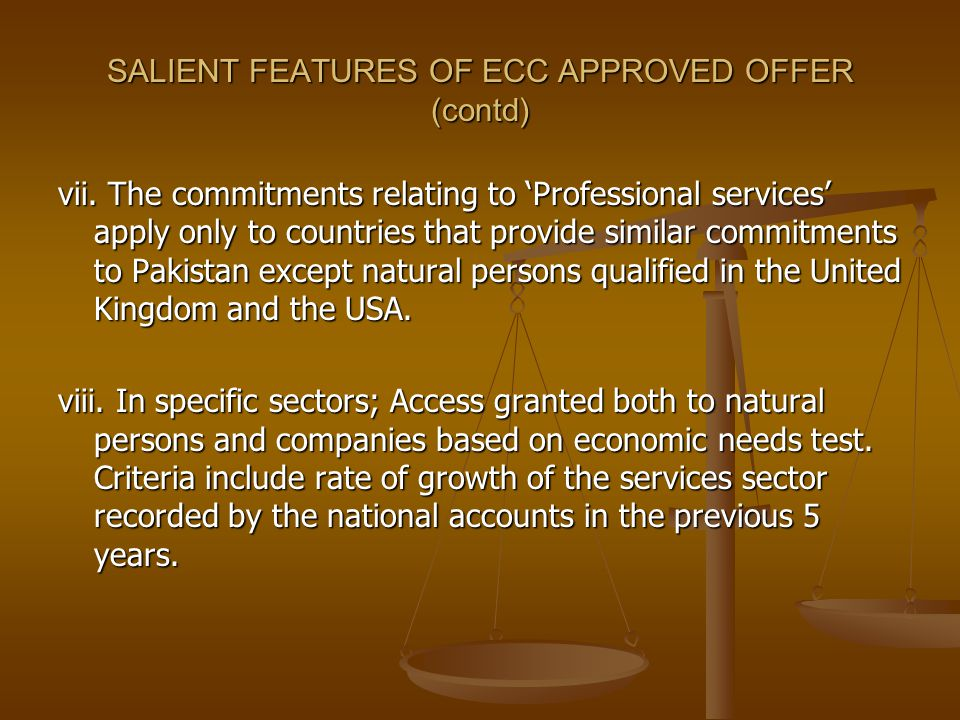 SALIENT FEATURES OF ECC APPROVED OFFER (contd) vii.