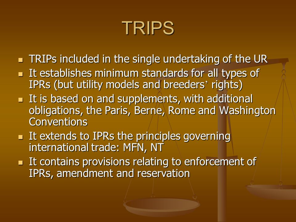 TRIPS TRIPs included in the single undertaking of the UR TRIPs included in the single undertaking of the UR It establishes minimum standards for all types of IPRs (but utility models and breeders rights) It establishes minimum standards for all types of IPRs (but utility models and breeders rights) It is based on and supplements, with additional obligations, the Paris, Berne, Rome and Washington Conventions It is based on and supplements, with additional obligations, the Paris, Berne, Rome and Washington Conventions It extends to IPRs the principles governing international trade: MFN, NT It extends to IPRs the principles governing international trade: MFN, NT It contains provisions relating to enforcement of IPRs, amendment and reservation It contains provisions relating to enforcement of IPRs, amendment and reservation