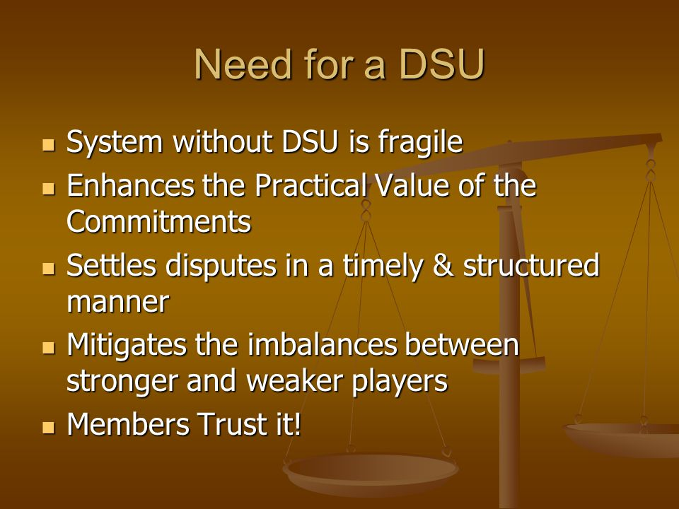 Need for a DSU System without DSU is fragile System without DSU is fragile Enhances the Practical Value of the Commitments Enhances the Practical Valu