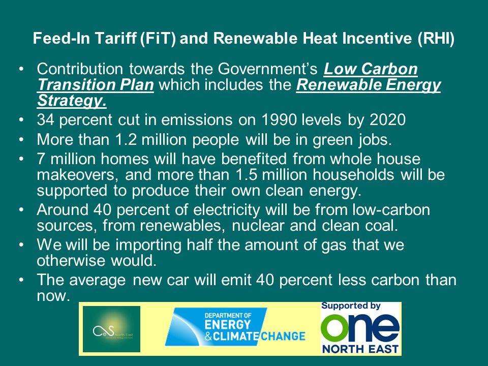 Feed-In Tariff (FiT) and Renewable Heat Incentive (RHI) Contribution towards the Governments Low Carbon Transition Plan which includes the Renewable Energy Strategy.
