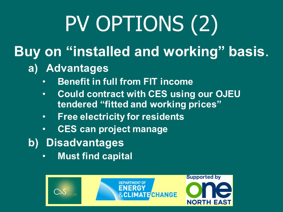 PV OPTIONS (2) Buy on installed and working basis.