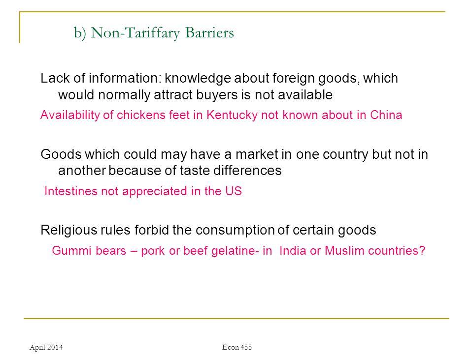 April 2014Econ 455 Discrimination Bureaucracy, Slowdown in processing imports Political slogans Buy American, buy British, freedom fries