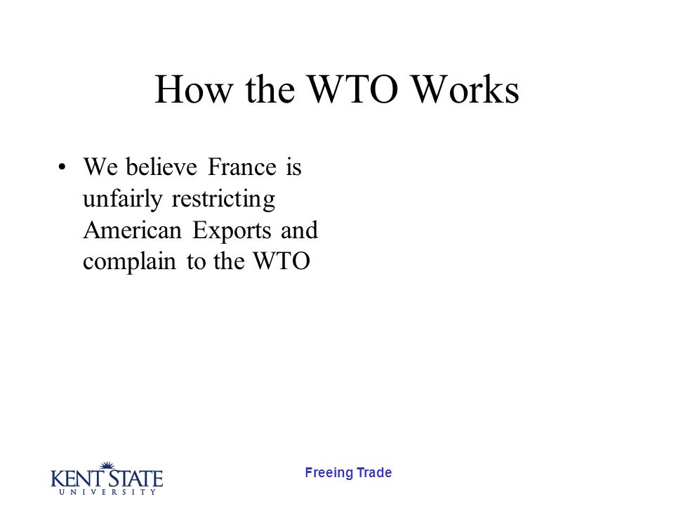 Freeing Trade How the WTO Works We believe France is unfairly restricting American Exports and complain to the WTO