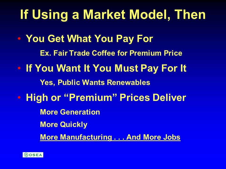 Germanys Renewable Tariffs The Results Renewables from EEG 9% of Supply Renewables Generating 40 TWh/yr 45,000 Employed in Wind Industry 15,000 Employed in PV Industry 135,000 Employed in Renewables 110,000 Jobs in Wind by 2010