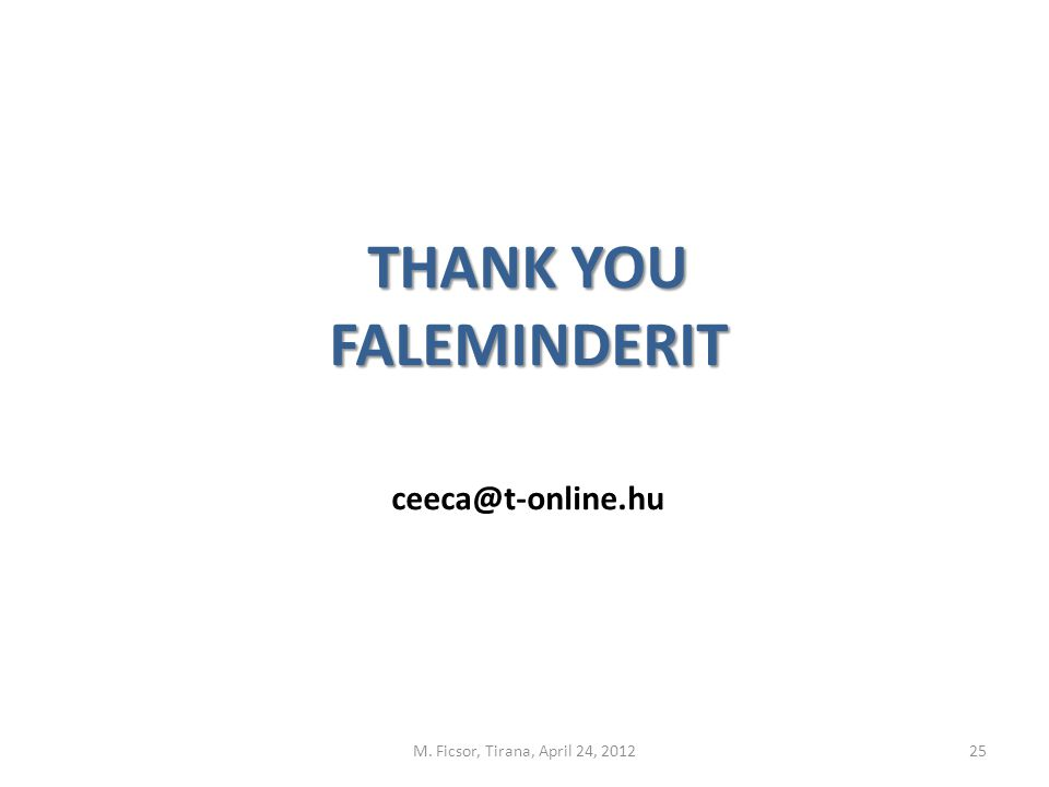 THANK YOU FALEMINDERIT ceeca@t-online.hu M. Ficsor, Tirana, April 24, 201225