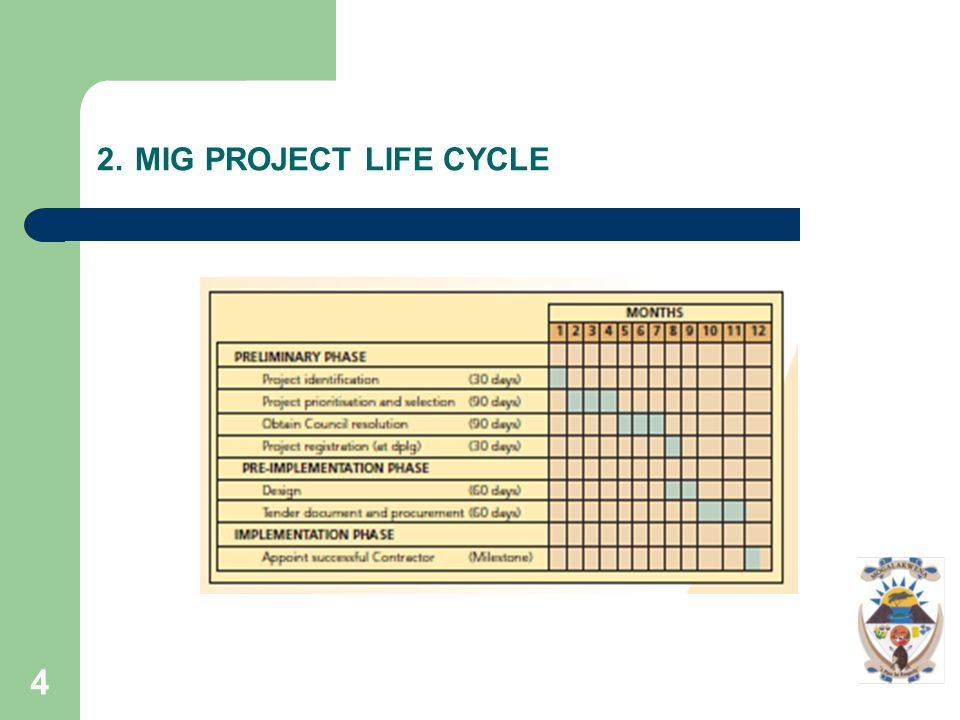 5 2. MIG PROJECT LIFE CYCLE..Cont