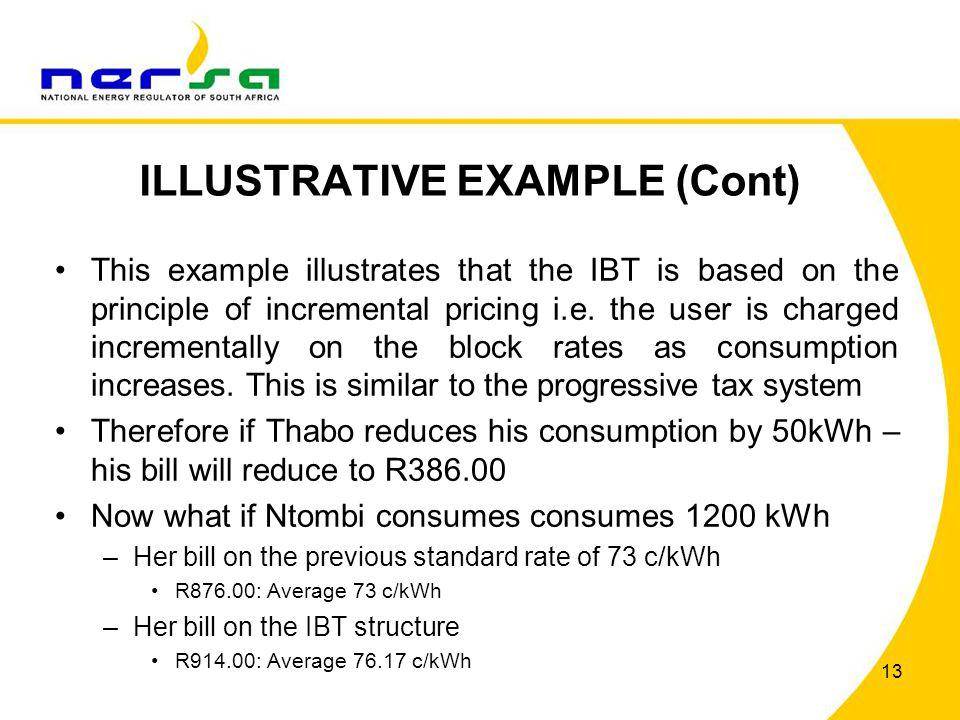 ILLUSTRATIVE EXAMPLE (Cont) This example illustrates that the IBT is based on the principle of incremental pricing i.e. the user is charged incrementa