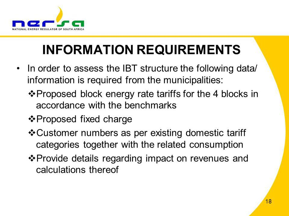 INFORMATION REQUIREMENTS In order to assess the IBT structure the following data/ information is required from the municipalities: Proposed block ener