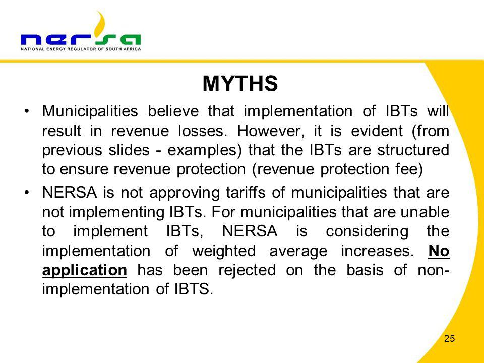 MYTHS Municipalities believe that implementation of IBTs will result in revenue losses. However, it is evident (from previous slides - examples) that