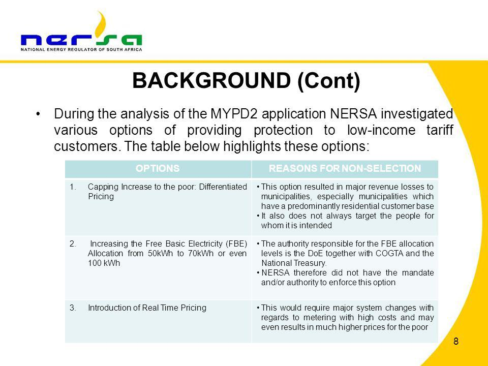 BACKGROUND (Cont) During this process, NERSA commenced with an international benchmark study on the design of an IBT During this study it was found that an IBT rate structure would allow NERSA to achieve the objective of (1) protecting low- income tariff customers and (2) promoting energy efficiency.