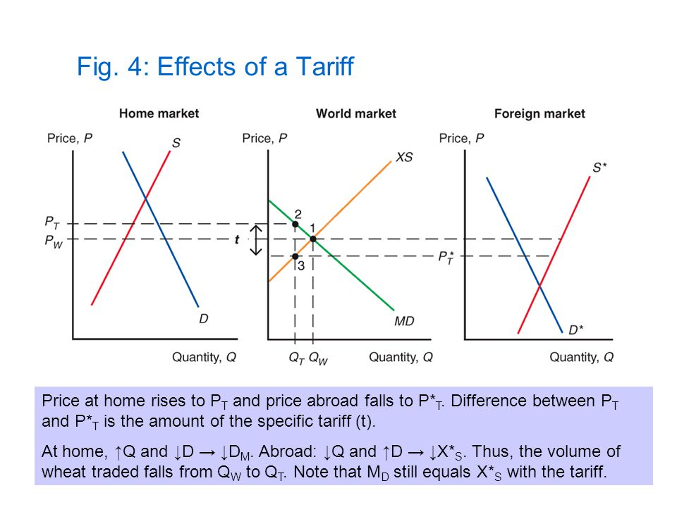 Fig. 4: Effects of a Tariff Price at home rises to P T and price abroad falls to P* T. Difference between P T and P* T is the amount of the specific t