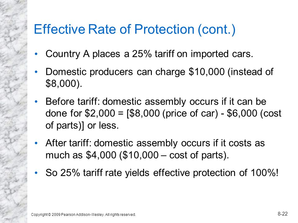Copyright © 2009 Pearson Addison-Wesley. All rights reserved. 8-22 Effective Rate of Protection (cont.) Country A places a 25% tariff on imported cars