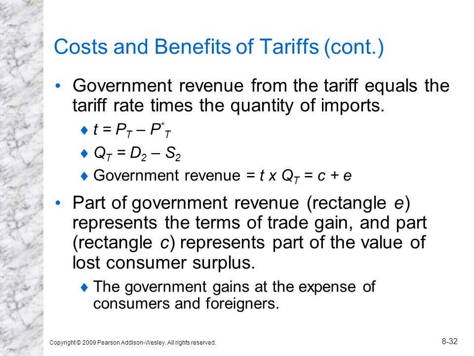 Copyright © 2009 Pearson Addison-Wesley. All rights reserved. 8-32 Costs and Benefits of Tariffs (cont.) Government revenue from the tariff equals the