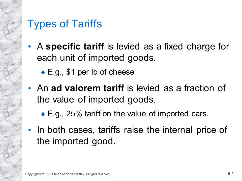 Fig.4: Effects of a Tariff Price at home rises to P T and price abroad falls to P* T.