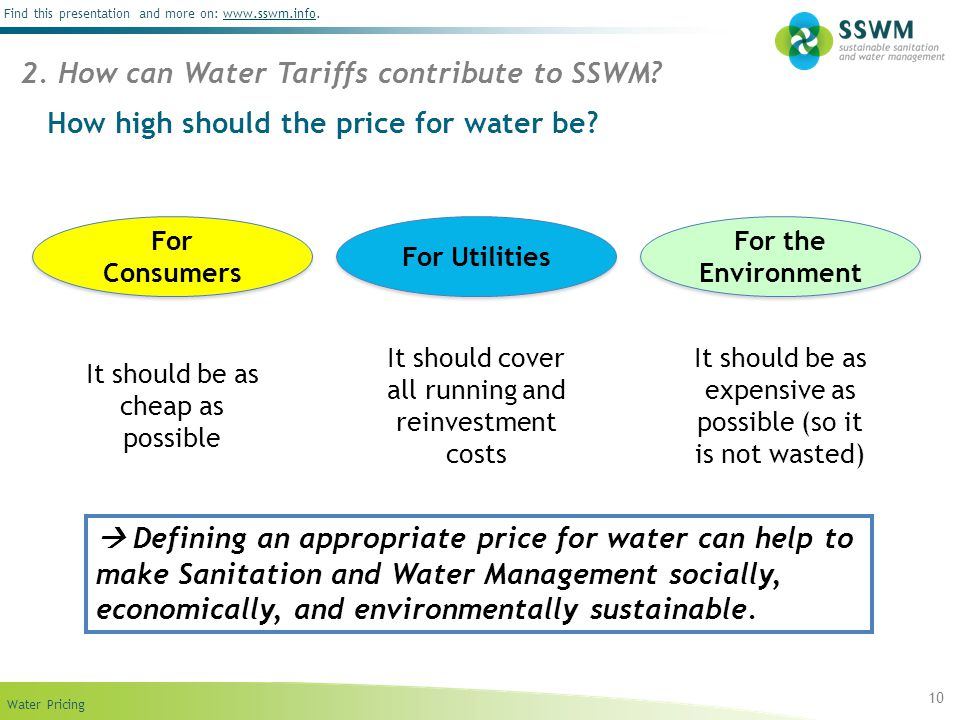 Find this presentation and more on: www.sswm.info.www.sswm.info Water Pricing 10 How high should the price for water be? 2. How can Water Tariffs cont