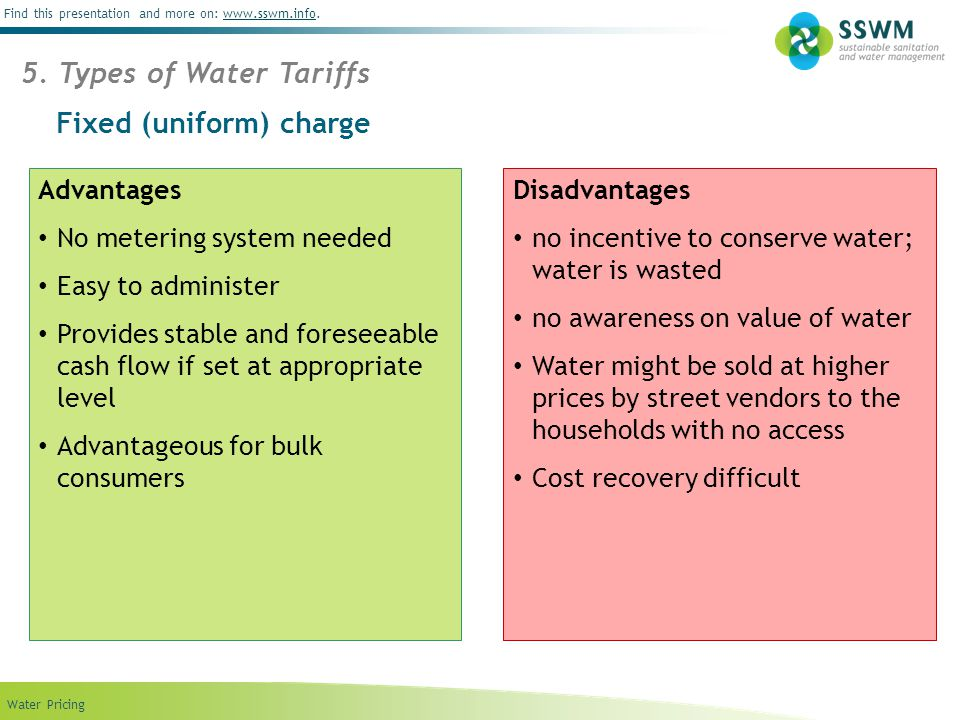 Find this presentation and more on: www.sswm.info.www.sswm.info Water Pricing Fixed (uniform) charge 5.