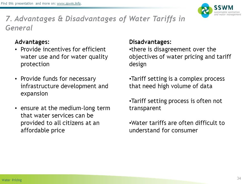 Find this presentation and more on: www.sswm.info.www.sswm.info Water Pricing 34 7.