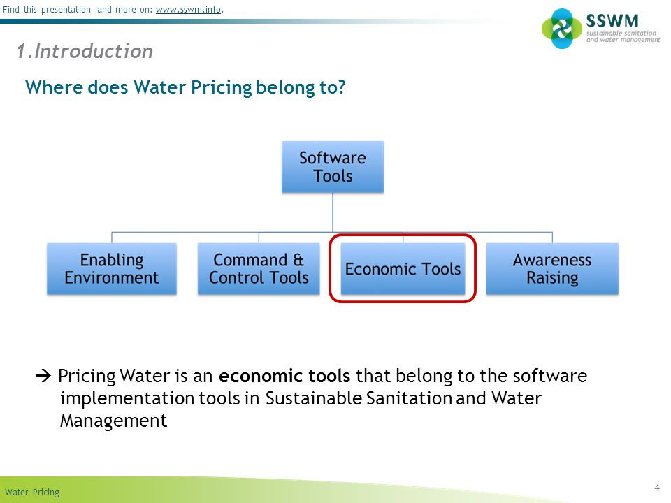 Find this presentation and more on: www.sswm.info.www.sswm.info Water Pricing 4 Where does Water Pricing belong to? Pricing Water is an economic tools