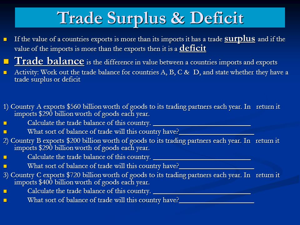 If the value of a countries exports is more than its imports it has a trade surplus and if the value of the imports is more than the exports then it i
