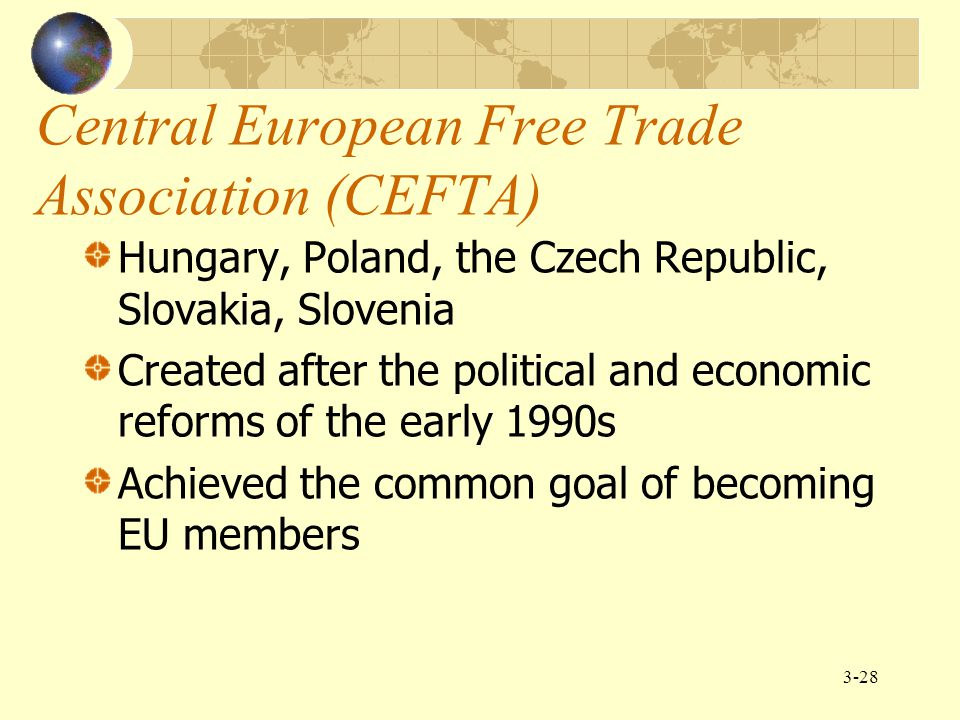 3-28 Central European Free Trade Association (CEFTA) Hungary, Poland, the Czech Republic, Slovakia, Slovenia Created after the political and economic