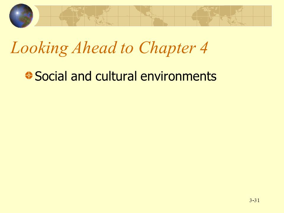3-31 Looking Ahead to Chapter 4 Social and cultural environments