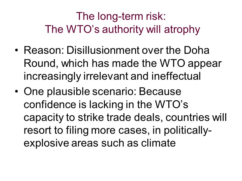 The long-term risk: The WTOs authority will atrophy Reason: Disillusionment over the Doha Round, which has made the WTO appear increasingly irrelevant and ineffectual One plausible scenario: Because confidence is lacking in the WTOs capacity to strike trade deals, countries will resort to filing more cases, in politically- explosive areas such as climate
