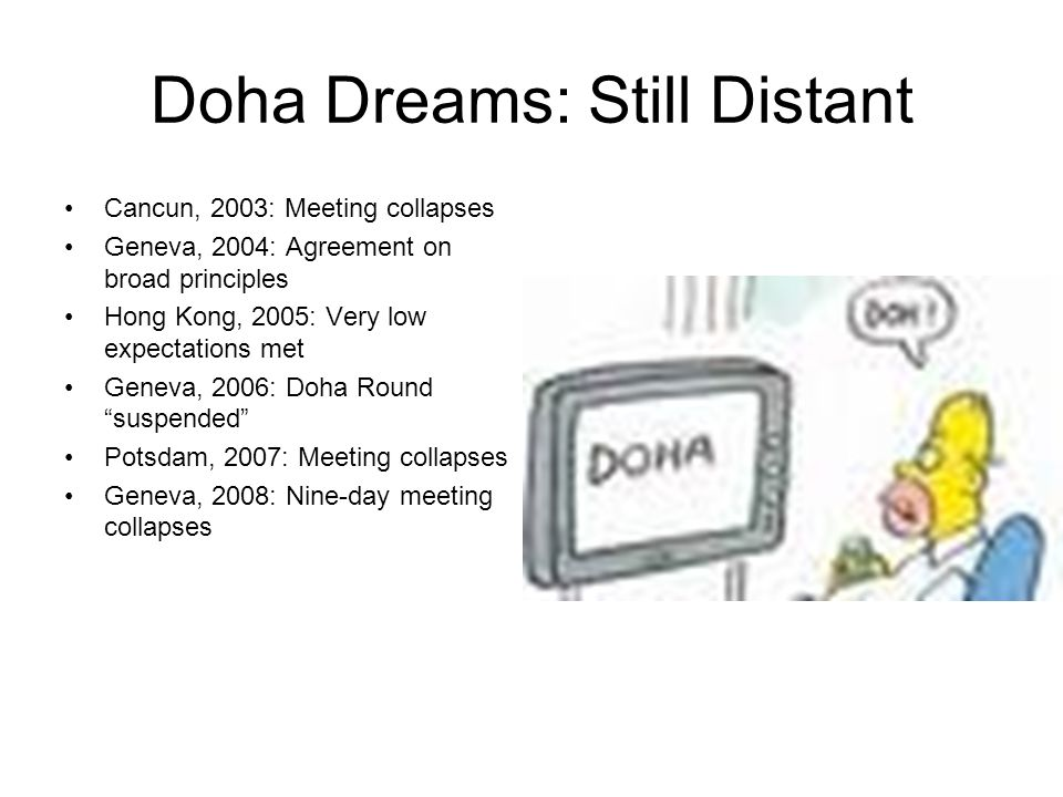Doha Dreams: Still Distant Cancun, 2003: Meeting collapses Geneva, 2004: Agreement on broad principles Hong Kong, 2005: Very low expectations met Geneva, 2006: Doha Round suspended Potsdam, 2007: Meeting collapses Geneva, 2008: Nine-day meeting collapses
