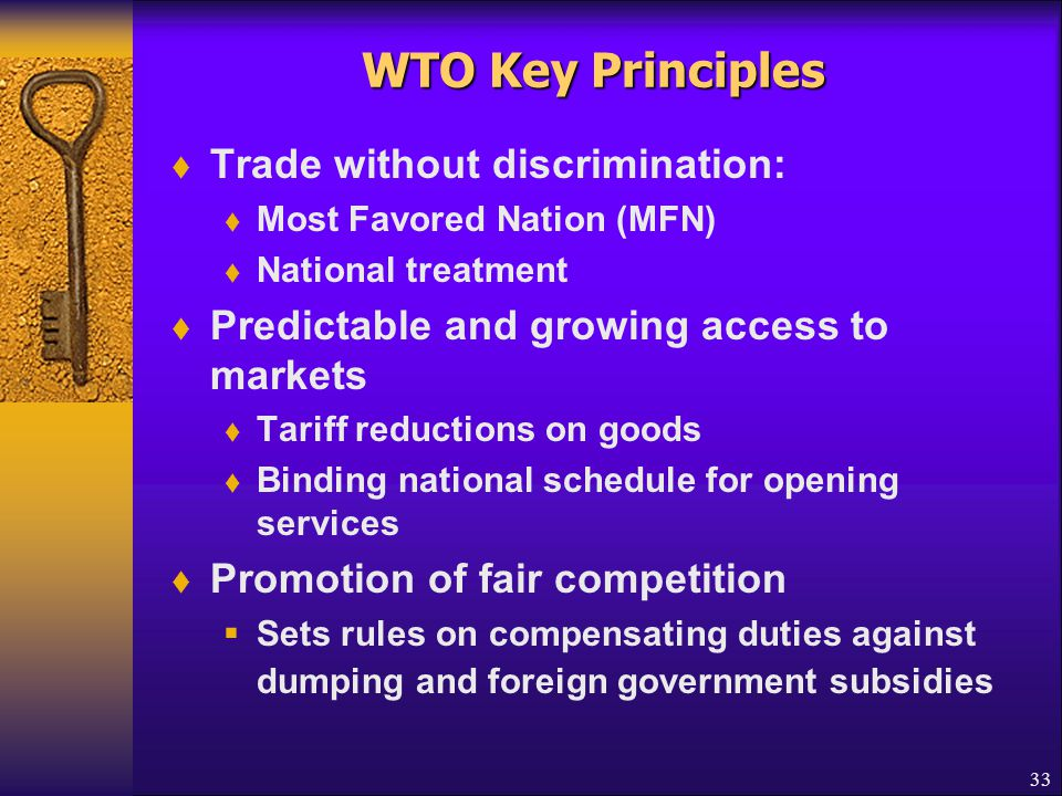 WTO Key Principles Encouraging development & economic reform of developing countries Industrial countries assist trade of developing countries by conferring tariff preference programs such as GSP 34
