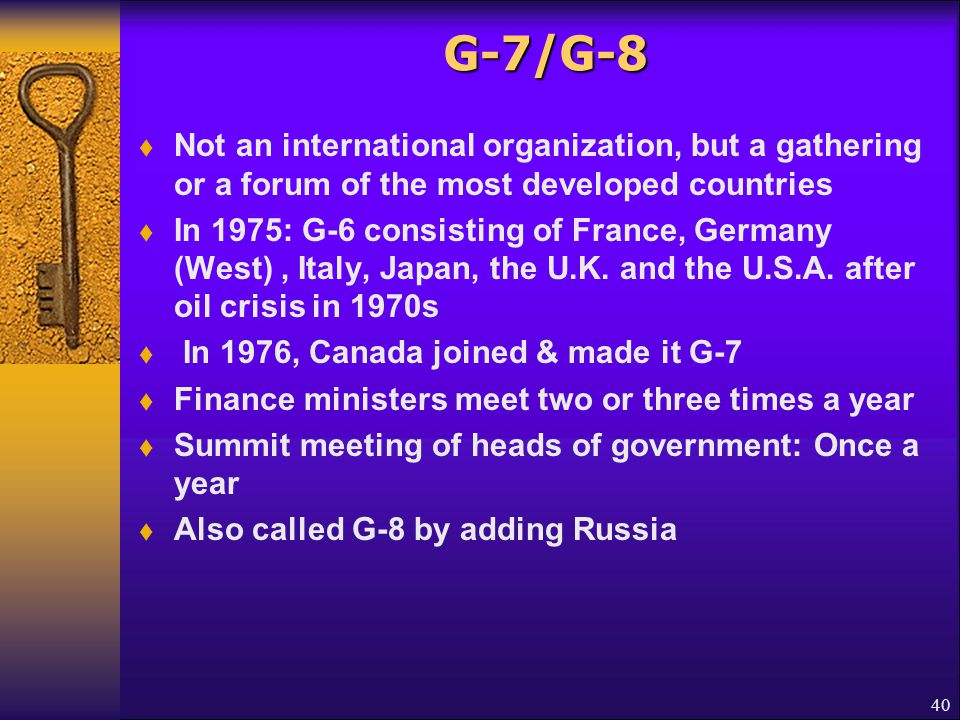 G-20 (Group of 20) Group of 20 Finance Ministers & Central Bank Governors.
