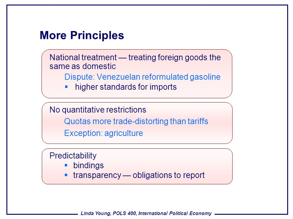 Linda Young, POLS 400, International Political Economy More Principles National treatment treating foreign goods the same as domestic Dispute: Venezue