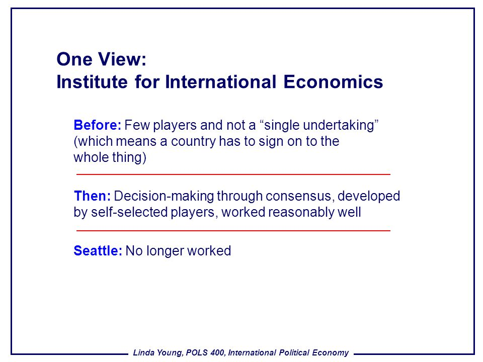 Linda Young, POLS 400, International Political Economy One View: Institute for International Economics Before: Few players and not a single undertakin