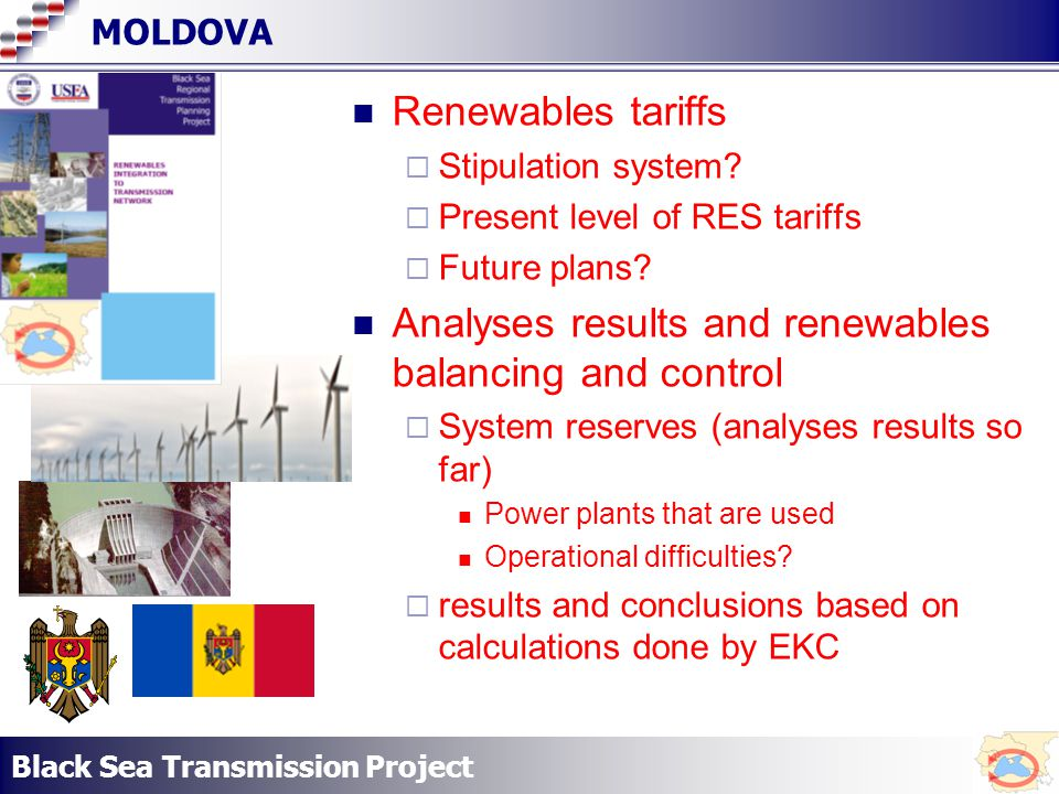 Black Sea Transmission Project MOLDOVA Renewables tariffs Stipulation system.