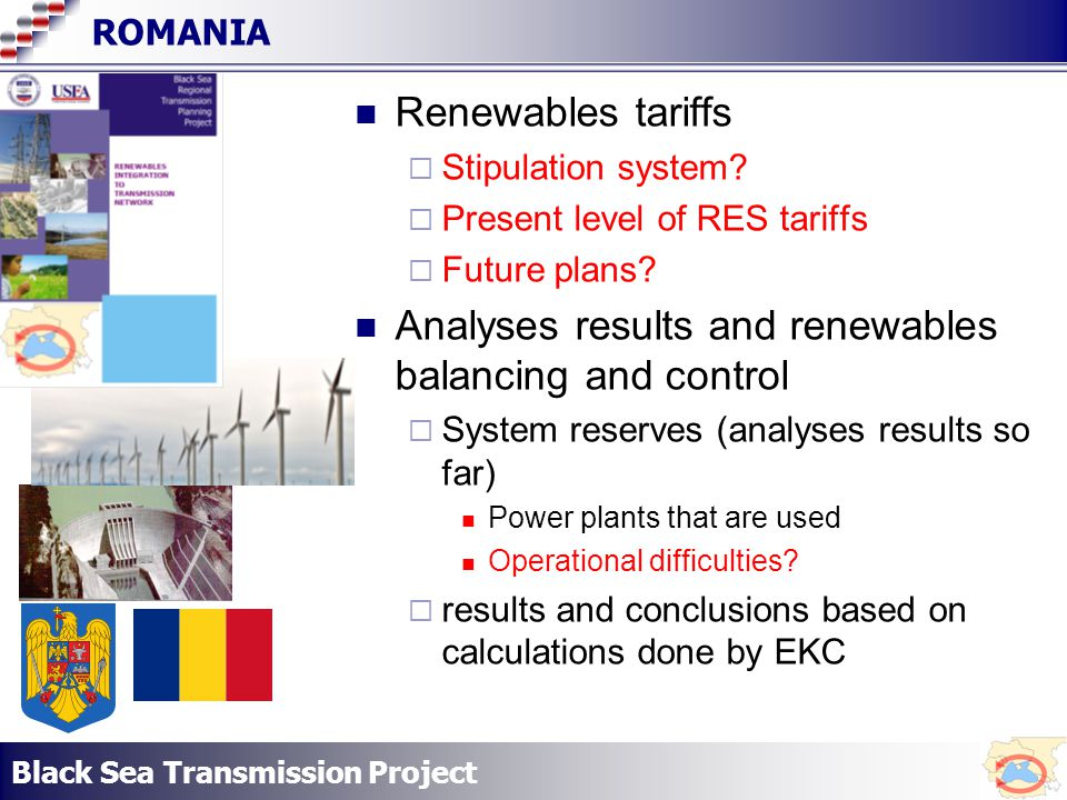 Black Sea Transmission Project ROMANIA Renewables tariffs Stipulation system.