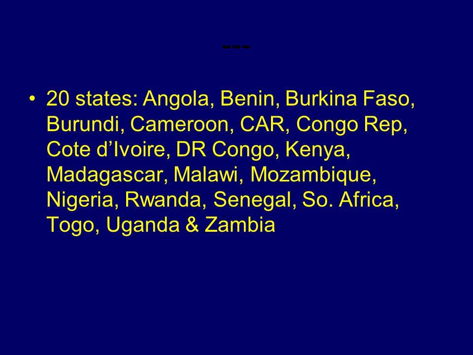 --- 20 states: Angola, Benin, Burkina Faso, Burundi, Cameroon, CAR, Congo Rep, Cote dIvoire, DR Congo, Kenya, Madagascar, Malawi, Mozambique, Nigeria, Rwanda, Senegal, So.