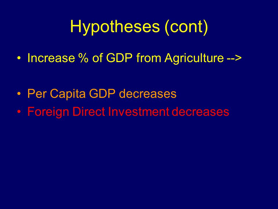 Hypotheses (cont) Increase % of GDP from Agriculture --> Per Capita GDP decreases Foreign Direct Investment decreases